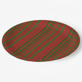 Red and Green Stripe Paper Plate
