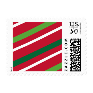 Red and Green Stripe Postage
