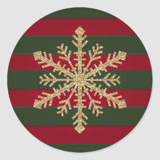 Red and Green Stripe with Gold Glitter Snowflake Classic Round Sticker