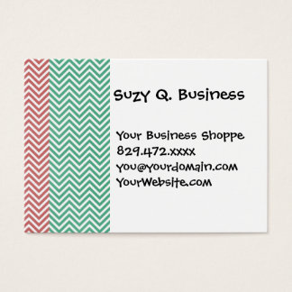 Red and Green Striped Chevron Zig Zags Business Card
