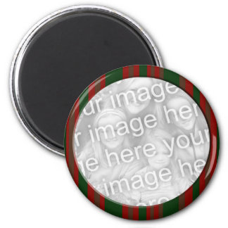 red and green striped photo frame 2 inch round magnet