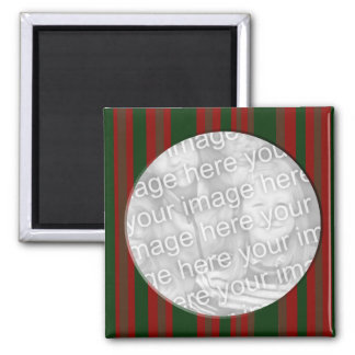 red and green striped photo frame 2 inch square magnet