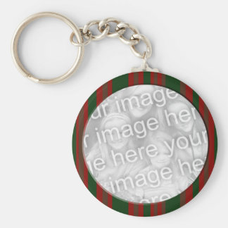 Red and Green Striped photo frame Basic Round Button Keychain