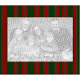 red and green striped photo frame statuette