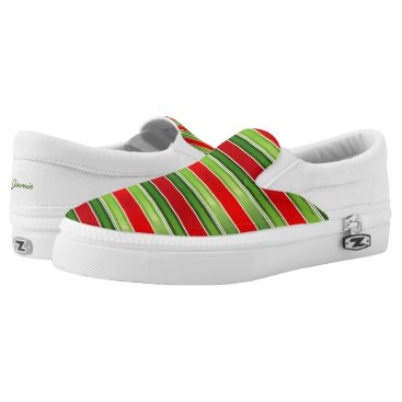USA Themed Red and Green Striped Slip-On Sneakers