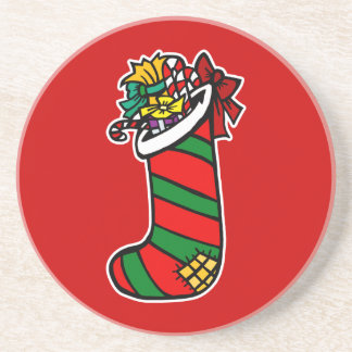 red and green striped stocking beverage coasters
