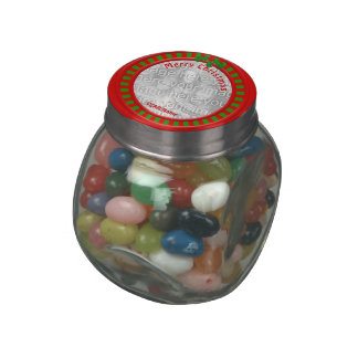 """Red and Green Stripes Christmas Photo """"Frame"""" Glass Candy Jars"""