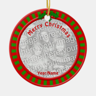 Red and Green Stripes Christmas Photo Ornament