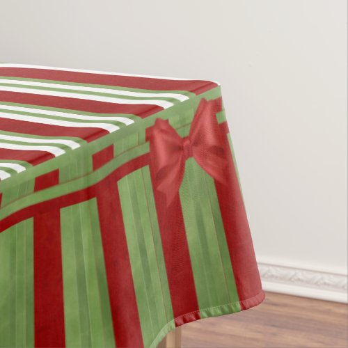 Red and Green Stripes Color Block and Bows Tablecloth