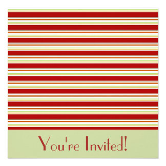 Red and Green Stripes Invitation