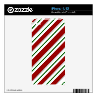 Red and Green Stripes Skin For The iPhone 4S