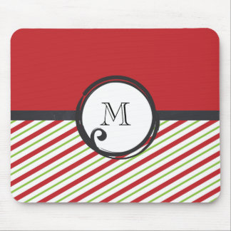 Red And Green Stripes With A Monogram In A Circle Mouse Pad