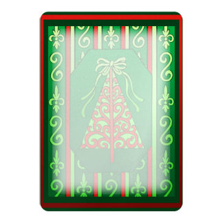 Red And Green Swirls Stripes Christmas Tree 5x7 Paper Invitation Card