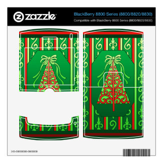 Red And Green Swirls Stripes Christmas Tree BlackBerry Decals