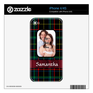 Red and green tartan iPhone 4 decal