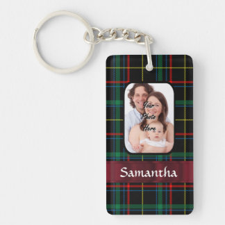 Red and green tartan keychain