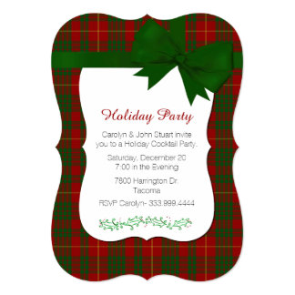 Red and Green Tartan Plaid Custom Christmas Party Card