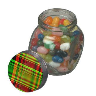 Red and Green Tartan Plaid Jelly Belly Candy Jar