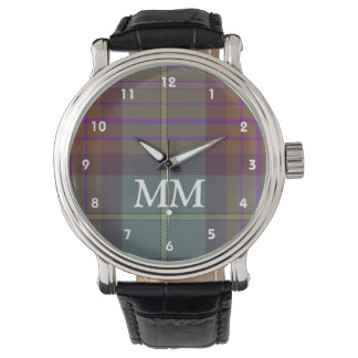 Red and green tartan plaid monogrammed wristwatches