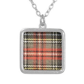 Red and Green Tartan Silver Plated Necklace