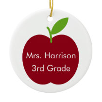 Red and Green Teacher Apple on White Personalized Ceramic Ornament