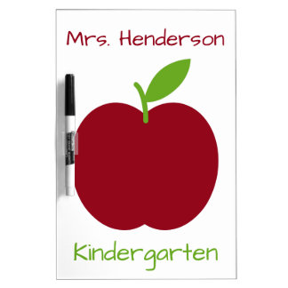 Red and Green Teacher's Apple on White Dry-Erase Board