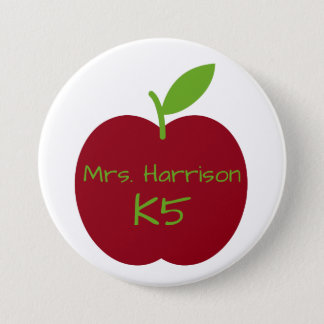 Red and Green Teacher's Apple Personalized Button