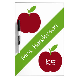 Red and Green Teacher's Apples on White Dry-Erase Board