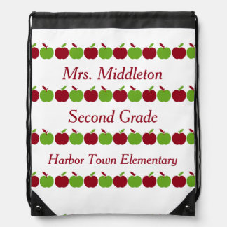 Red and Green Teacher's Apples Personalized Drawstring Bag