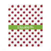 Red and Green Teacher's Apples Personalized Fleece Blanket