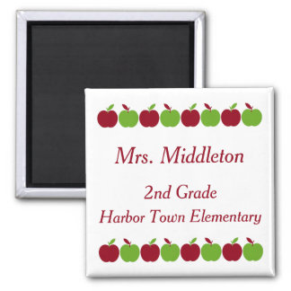 Red and Green Teacher's Apples Personalized Magnet
