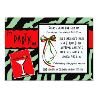 Red And Green Tiger Print Holiday Party Invitation