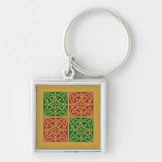 Red and Green Tile Art on Gold Pattern Keychain