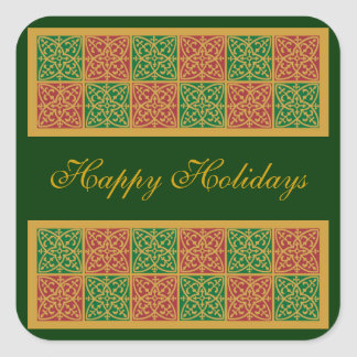 Red and Green Tile Art on Gold Pattern Square Sticker