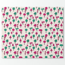Red and green Trees with girl Wrapping Paper