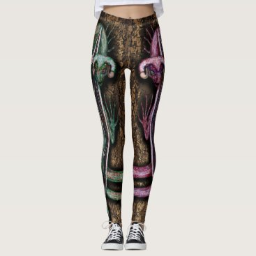 Halloween Themed Red and Green Twin Dragons Leggings