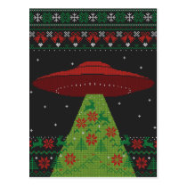 Red and Green UFO Tractor Beam Ugly Christmas Postcard