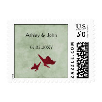 red and green vintage butterflies postage