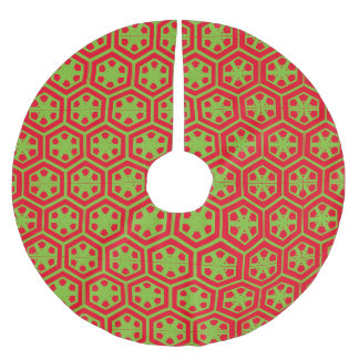 Red and Green Vintage Pattern Christmas Tree Skirt