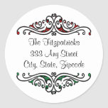 Red and Green Vintage Scrollwork and Fancy Font Classic Round Sticker