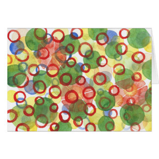 Red and Green Watercolour Circles Card