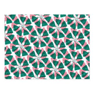 Red and Green Winter Snowflake Pattern Pinwheel Postcard