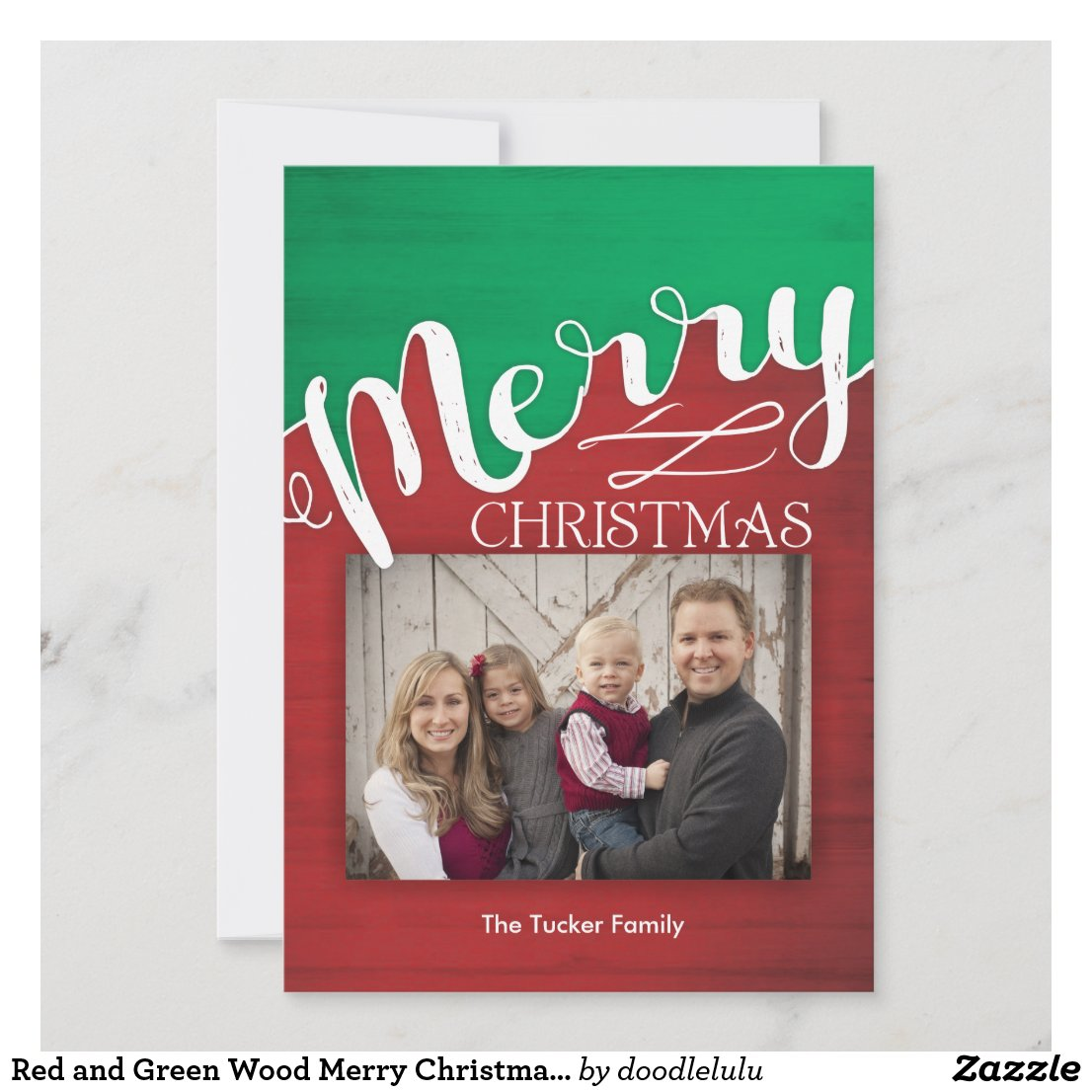 Red and Green Wood Merry Christmas Photo Card