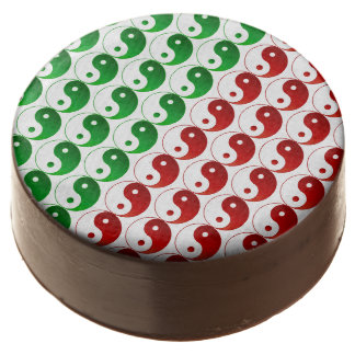 Red and Green Yin and Yang Chocolate Dipped Oreo