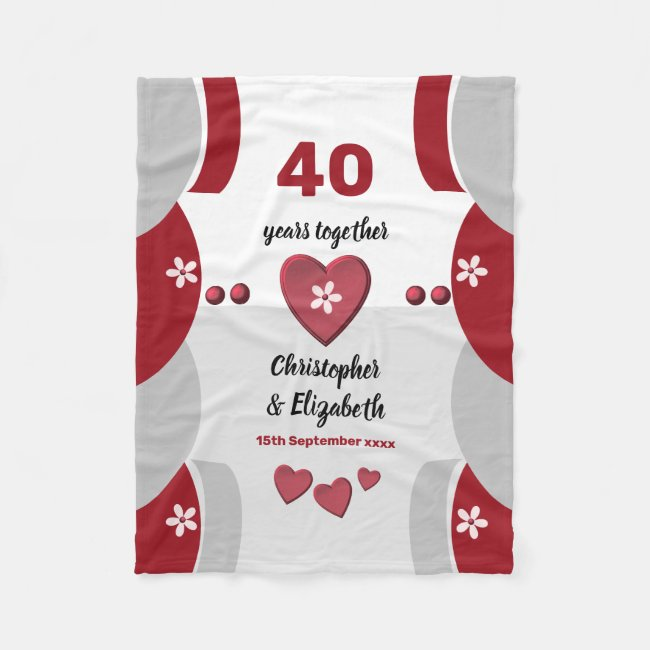 Red and grey 40 years Ruby Anniversary Fleece Blanket
