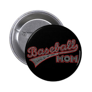 Red and Grey Baseball Mom Button