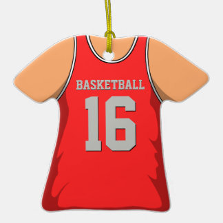 Red and Grey Basketball Jersey 16 V1 Double-Sided T-Shirt Ceramic Christmas Ornament