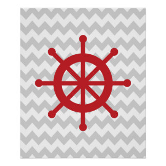 Red and Grey Chevron Nautical Ship Wheel Poster