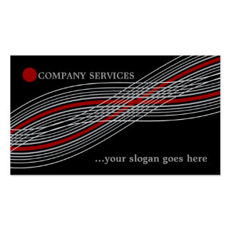 Red and grey crossed curved lines and circle business card template