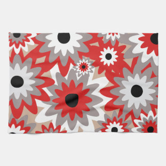Red and Grey Flowers Custom Kitchen Towel